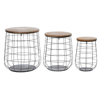Olivia & May Set of 3 Weave Baskets with Wooden Lids