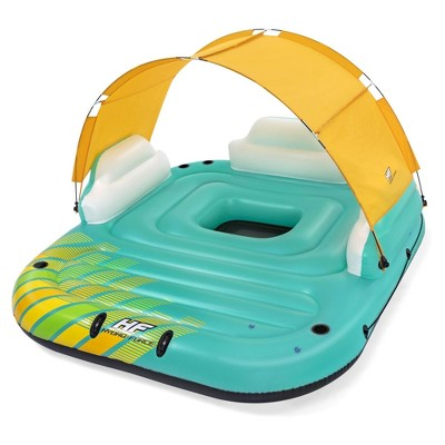 Bestway 43407E Hydro Force Sunny 5 Person Inflatable Large Floating Island Lake Water Lounge Raft with Cup Holders and Removable Sunshade, Green