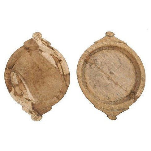 Round Hand Carved Wood Bowls Brown 2pk - 3R Studios - image 1 of 2