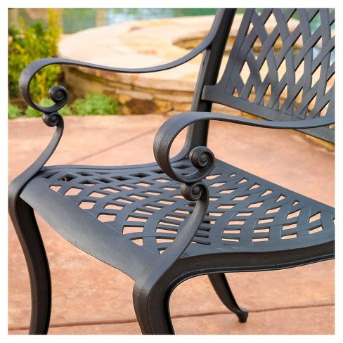 Hallandale Set Of 2 Cast Aluminum Patio Chairs Black Sand Christopher Knight Home Target
