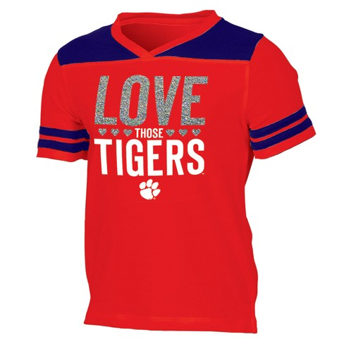 Clemson Tigers Girls' Short Sleeve Team Love V-Neck T-Shirt - image 1 of 2