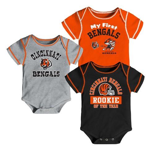 Cincinnati Bengals Boys' Newest Fan 3pk Bodysuit Set 18 M - image 1 of 4