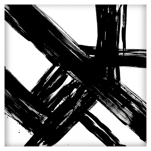 abstract black and white 22 x22 2 pack embellished canvas