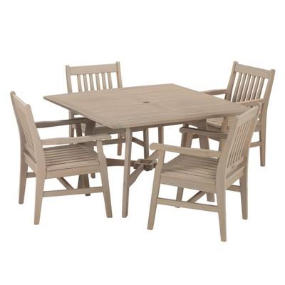 Wexford 5pc Square Metal Patio Dining Set - Table Grigio Shorea - Oxford Garden