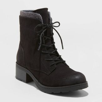 Women's Dez Microsuede Lace-Up Boots - Universal Thread™ Black 7.5