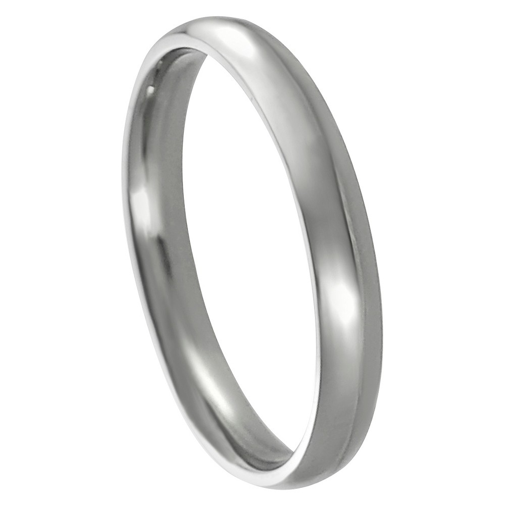 Women's Journee Collection Thin Wedding Band in Stainless Steel - Silver, 8