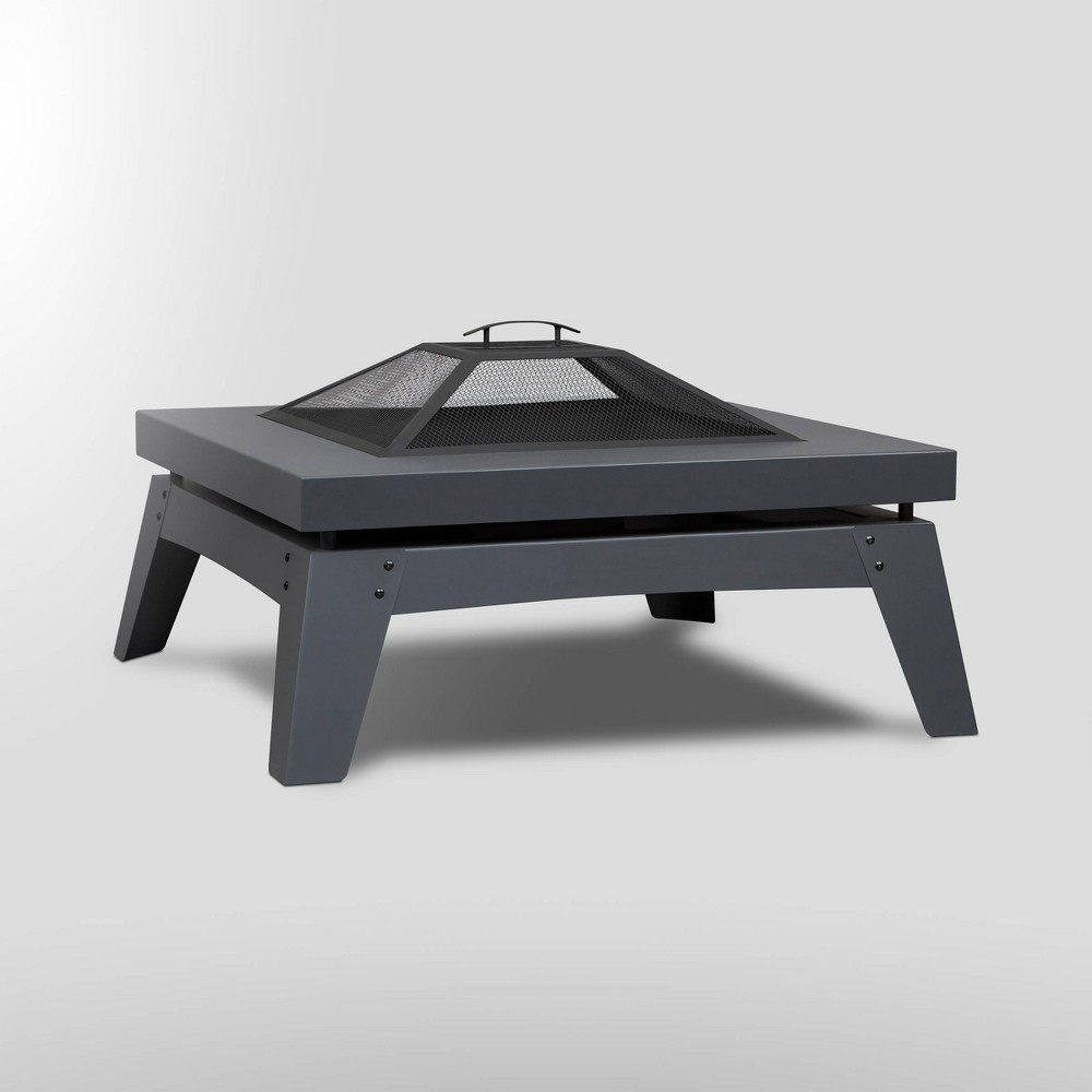 Image of Breton Square Wood Fire Pit Gray - Real Flame