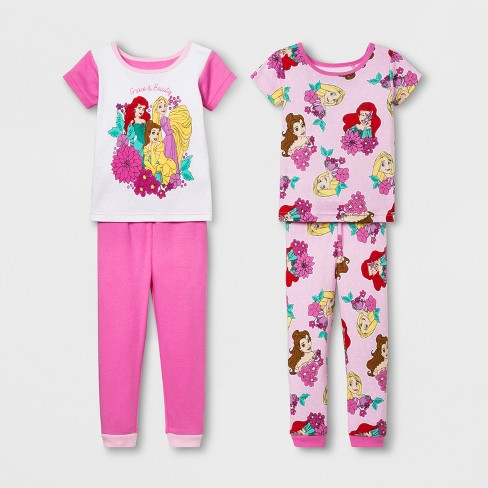 d0c4af29f114 Toddler Girls  Disney Princess 4pc Cotton Pajama Sleeper - Pink   Target