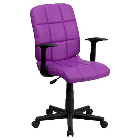 Mid-Back Purple Quilted Vinyl Swivel Task Chair with Nylon Arms - Flash Furniture - image 1 of 4