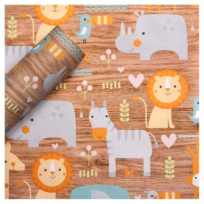 8x2.5' Baby Animals on Woodgrain Baby Shower Gift Wrapping Paper - Spritz™