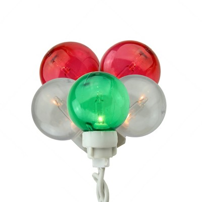Northlight 100ct G30 Globe Icicle Christmas Lights Green/Red - 9.5' White Wire