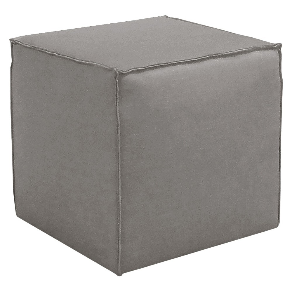 Skyline Custom Upholstered Square Ottoman with French Seams - Skyline Furniture, Linen Gray