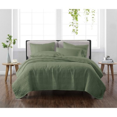 King 3pc Solid Quilt Set Green - Cannon Heritage