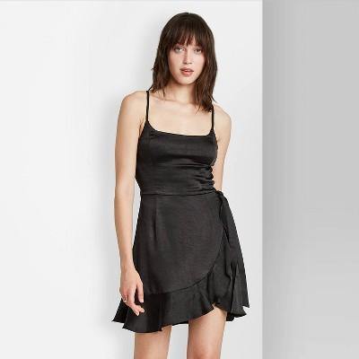 Women's Sleeveless Satin Wrap Dress - Wild Fable™