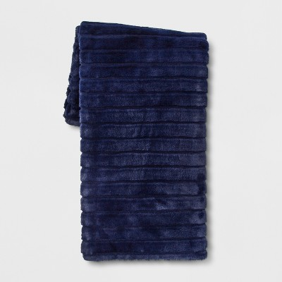 Textured Faux Fur Throw Blanket Blue - Project 62™