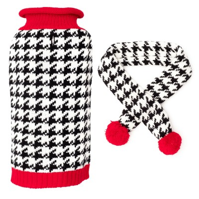 The Worthy Dog Houndstooth Sweater and Scarf Set
