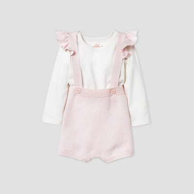 Baby Girls' Ruffle Shoulder Romper Bodysuit Set - Cat & Jack™ Pink 3-6M