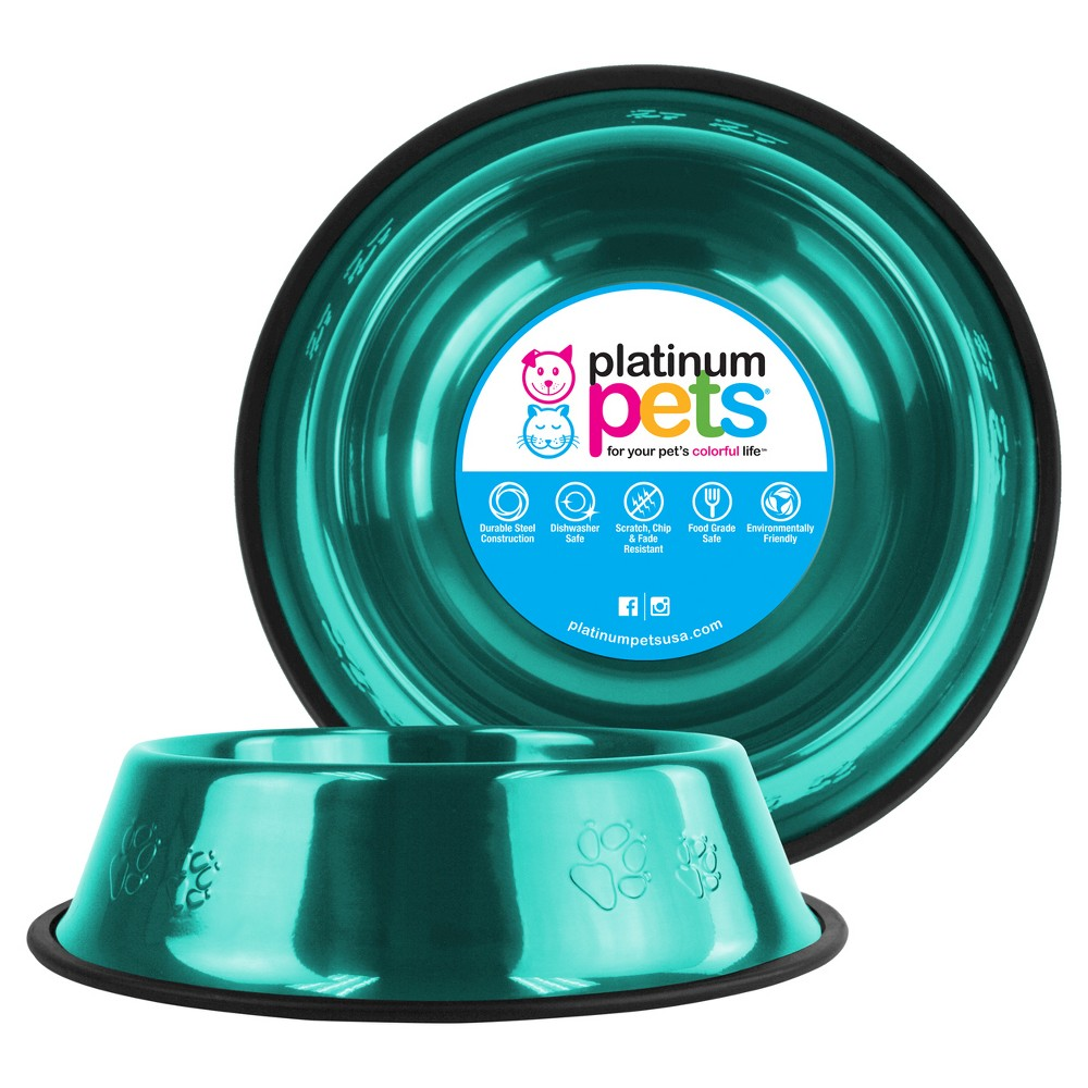 Platinum Pets Embossed Non Tip Cat Dog Bowl Caribbean Teal 10 Cup