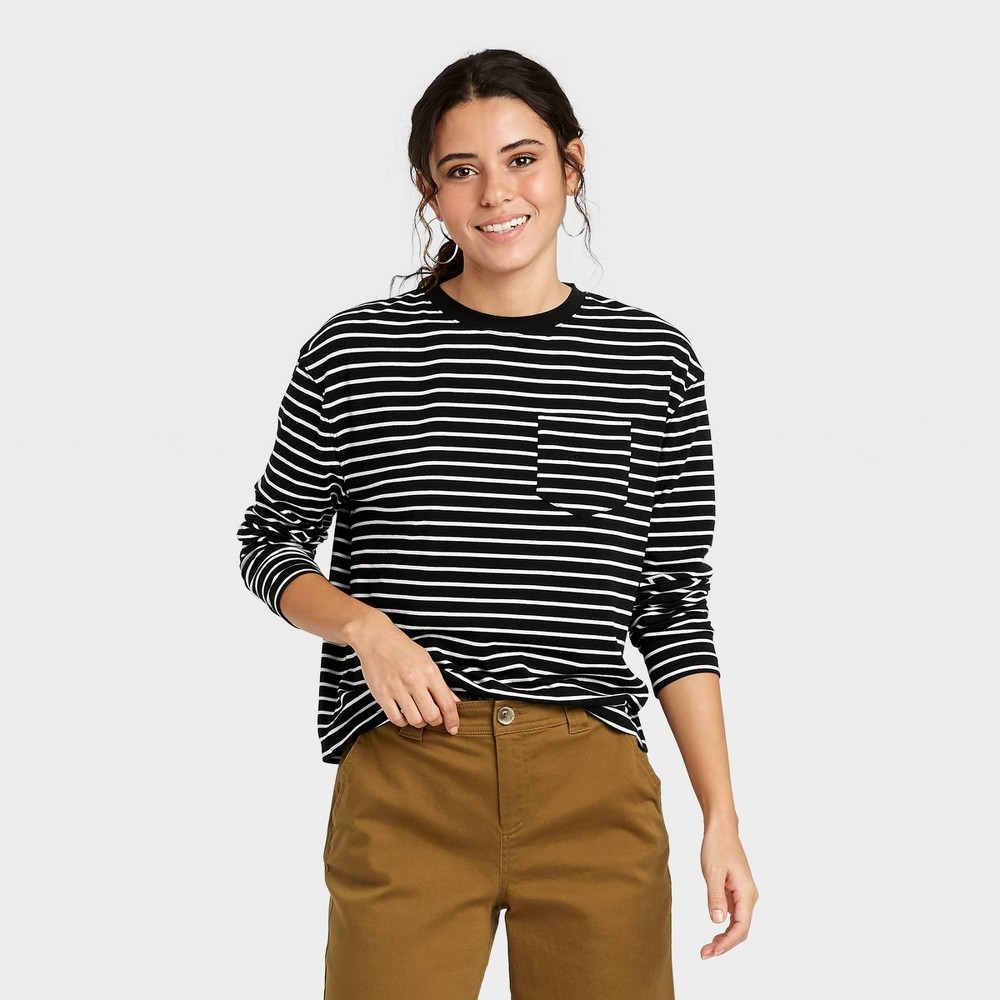 Women 39 S Striped Slim Fit Long Sleeve Round Neck Pocket T Shirt A New Day 8482 Black Xxl
