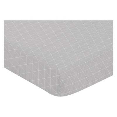 Sweet Jojo Designs Fitted Crib Sheet - Mountains Grid - Gray