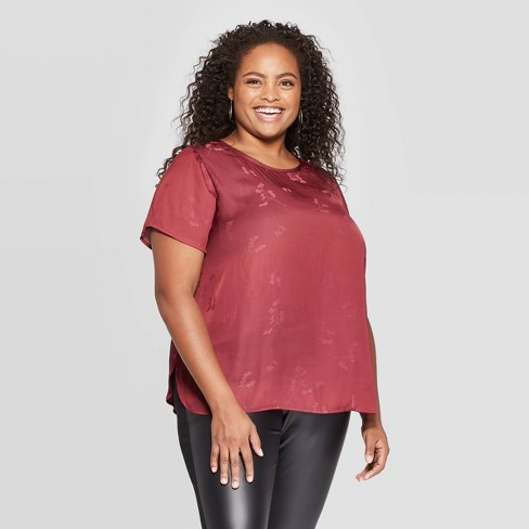 Women's Plus Size Floral Print Short Sleeve Crewneck Top - Ava & Viv™ Red - image 1 of 2