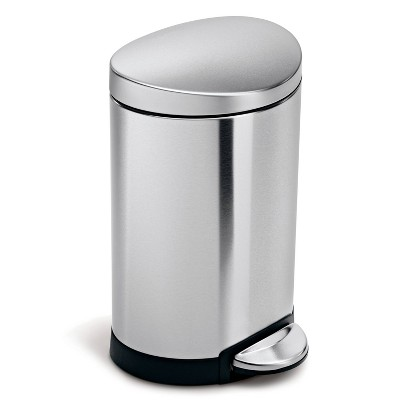 simplehuman 6L Stainless Steel Semi-Round Step Trash Can Brushed Silver