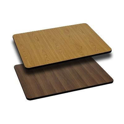 Flash Furniture 30'' x 45'' Rectangular Table Top with Natural or Walnut Reversible Laminate Top