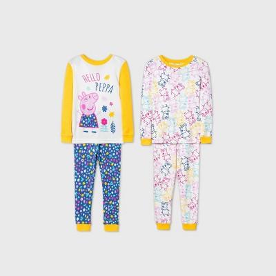 Toddler Girls' 4pc Peppa Pig Pajama Set - Yellow 3T