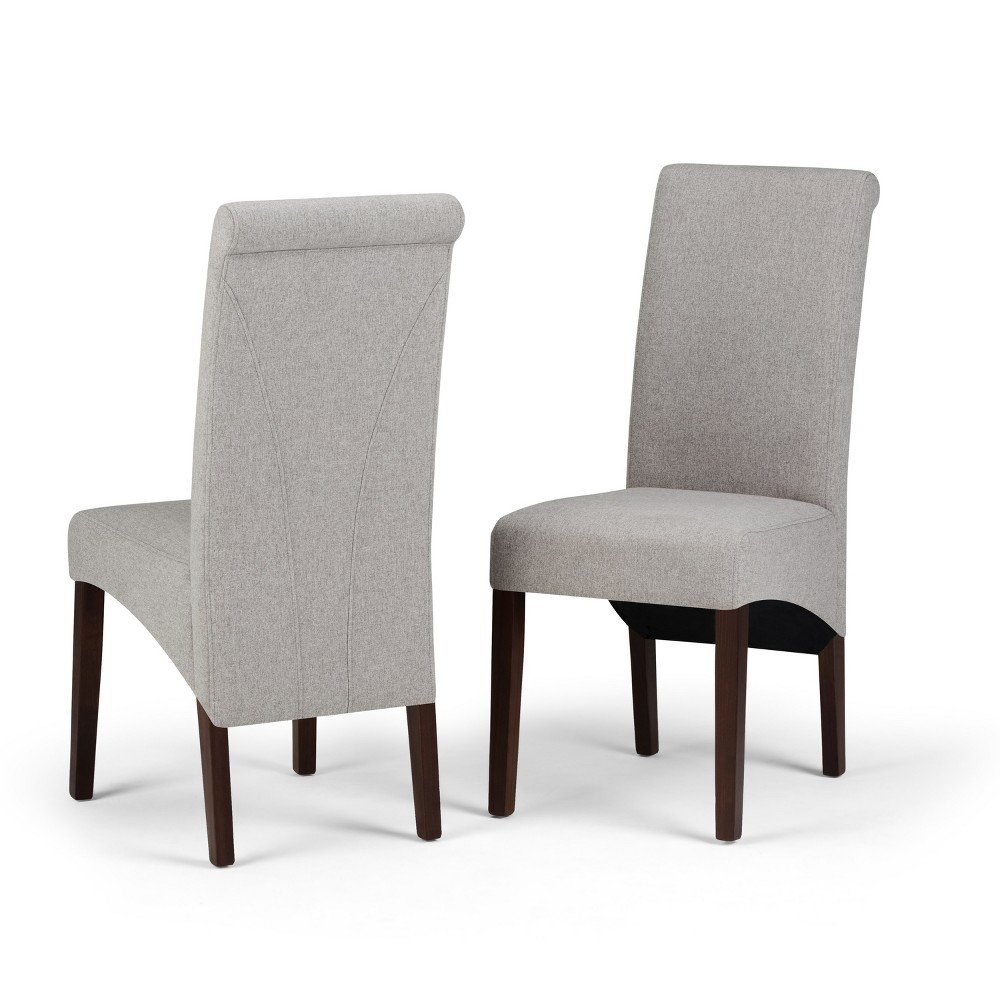 FranklDeluxe Parson Dining Chair Set of 2 Cloud Gray Linen Look Fabric - Wyndenhall, Cloudy Gray