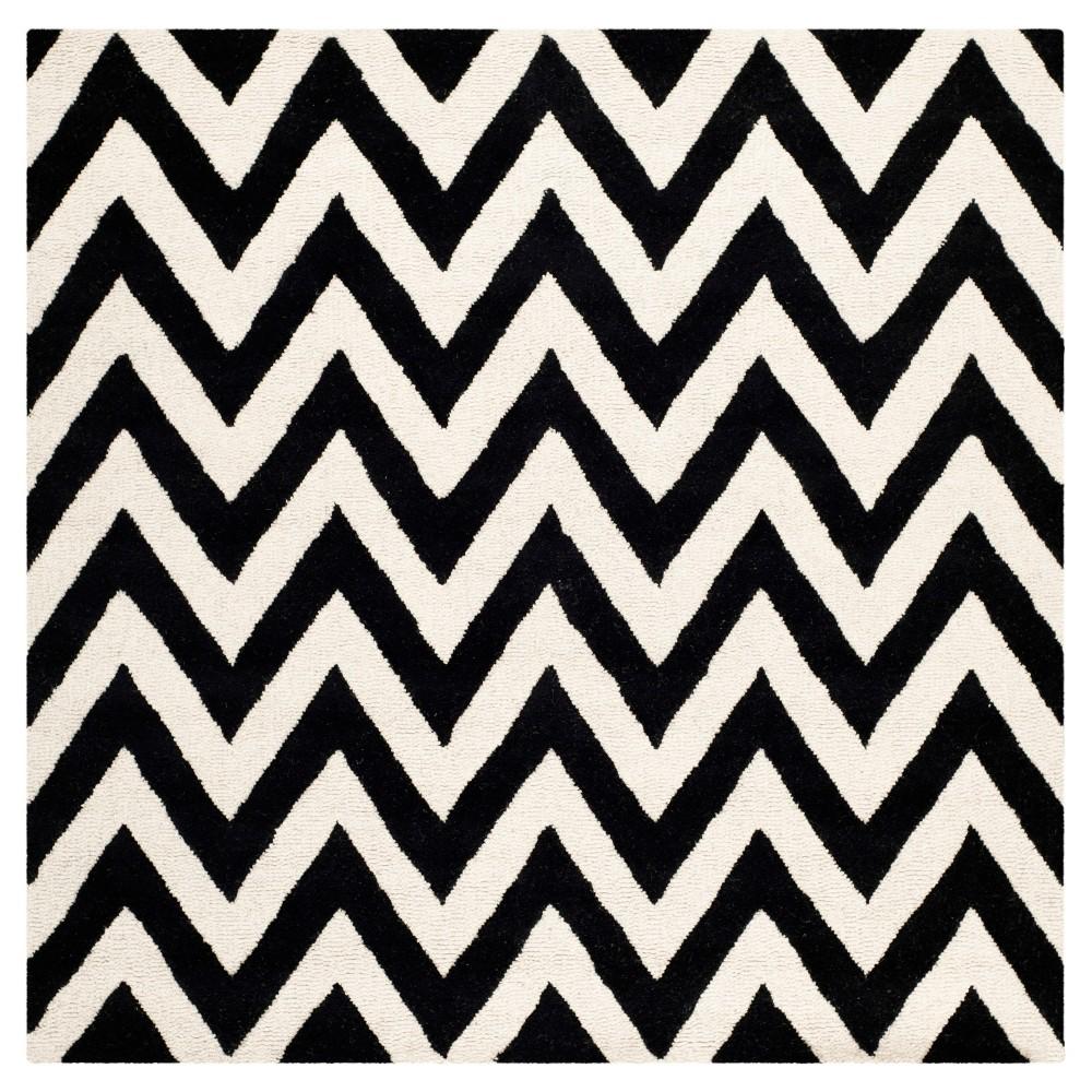 Dalton Textured Area Rug Black Ivory 8 39 X8 39 Square Safavieh