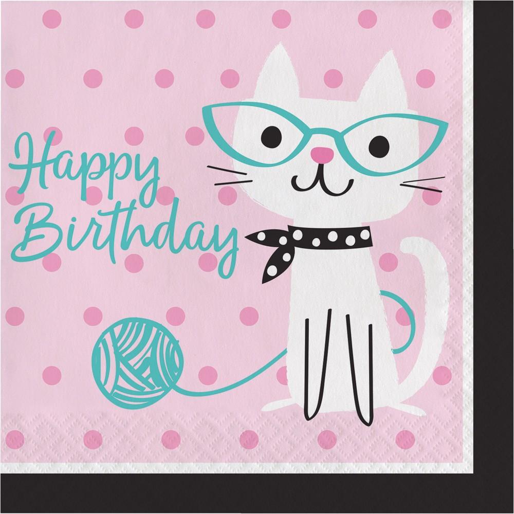 Image of 16ct Creative Converting Cat Party Birthday Napkins