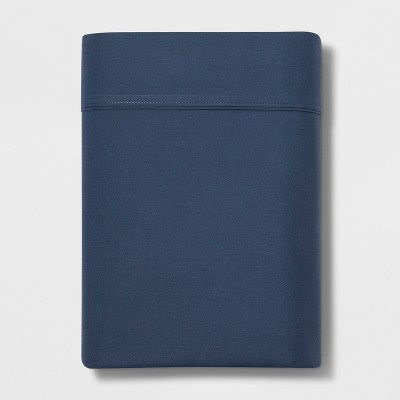 Queen 300 Thread Count Ultra Soft Flat Sheet Dark Blue - Threshold™