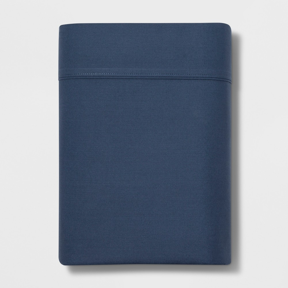 Image of Full 300 Thread Count Ultra Soft Flat Sheet Dark Blue - Threshold