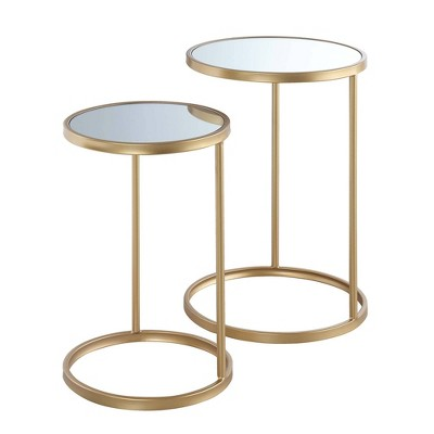Gold Coast Mirrored Nesting End Tables - Johar Furniture
