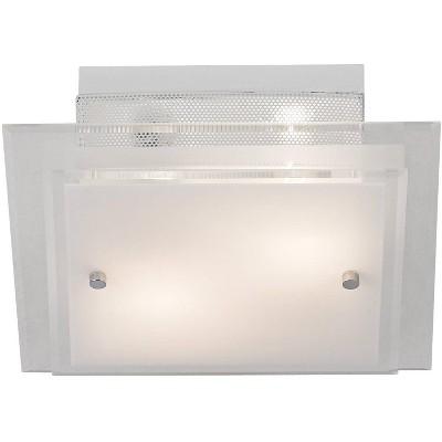 "Possini Euro Design Modern Ceiling Light Flush Mount Fixture Frosted Glass 11 3/4"" Wide White Mesh for Bedroom Kitchen Living Room"