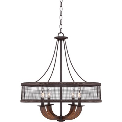"Franklin Iron Works Bronze Pendant Chandelier 22"" Wide Rustic Farmhouse Mesh Drum Hardwood Arm 4-Light Fixture Dining Room House"