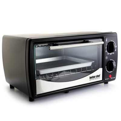 Better Chef 9 Liter Toaster Oven Broiler in Black With Stainless Stell Front