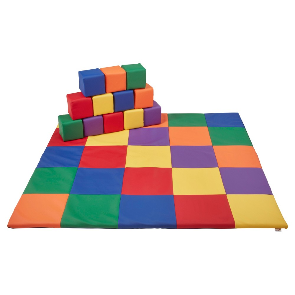 SoftZone Patchwork Toddler Mat & 12Pc Blocks, Blue/Green/Orange/Yellow