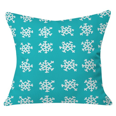 "Snowflake Party Throw Pillow Teal (20""x20"") - Deny Designs® - image 1 of 2"