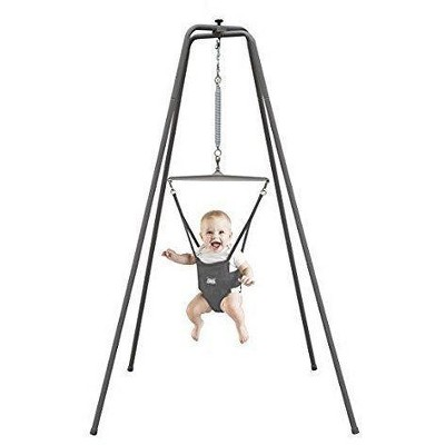 Jolly Jumper Baby Exerciser with Super Stand, Baby Bouncer for Active Babies, Safe Baby Jumper, Gray