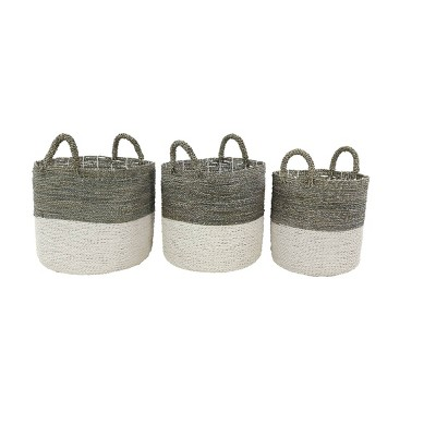 Olivia & May Set of 3 Large Round Blocked Seagrass Baskets Gray/White