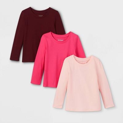 Toddler Girls' 3pk Solid Long Sleeve T-Shirt - Cat & Jack™ Pink/Light Pink/Burgundy
