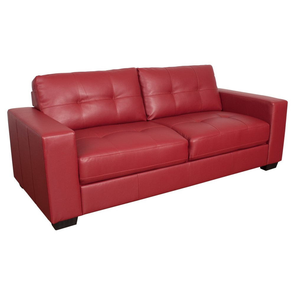 Club Tufted Red Bonded Leather Sofa - Corliving