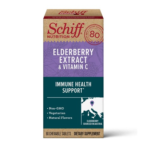 Schiff Elderberry Extract Chewable Dietary Supplement Tablets - 60ct - image 1 of 4