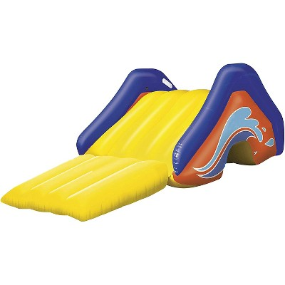 H2O-GO! Giant Inflatable PVC Backyard Swimming Pool Waterslide Slide with Built In Sprinkler Sprinkler and Repair Patch, Yellow and Purple