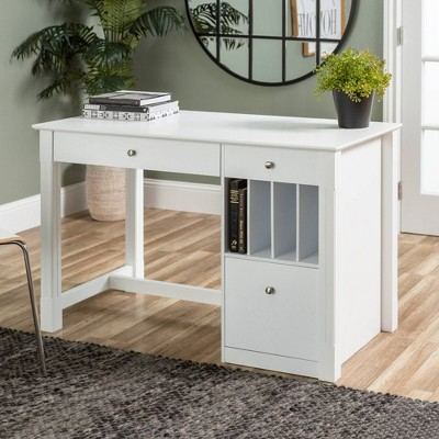 Home Office Deluxe Storage Computer Desk   White Wood   Saracina Home