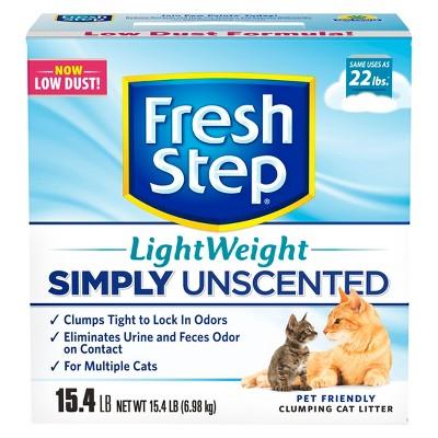 Fresh Step Lightweight Multi-Cat Unscented Clumping Cat Litter - 15.4lb
