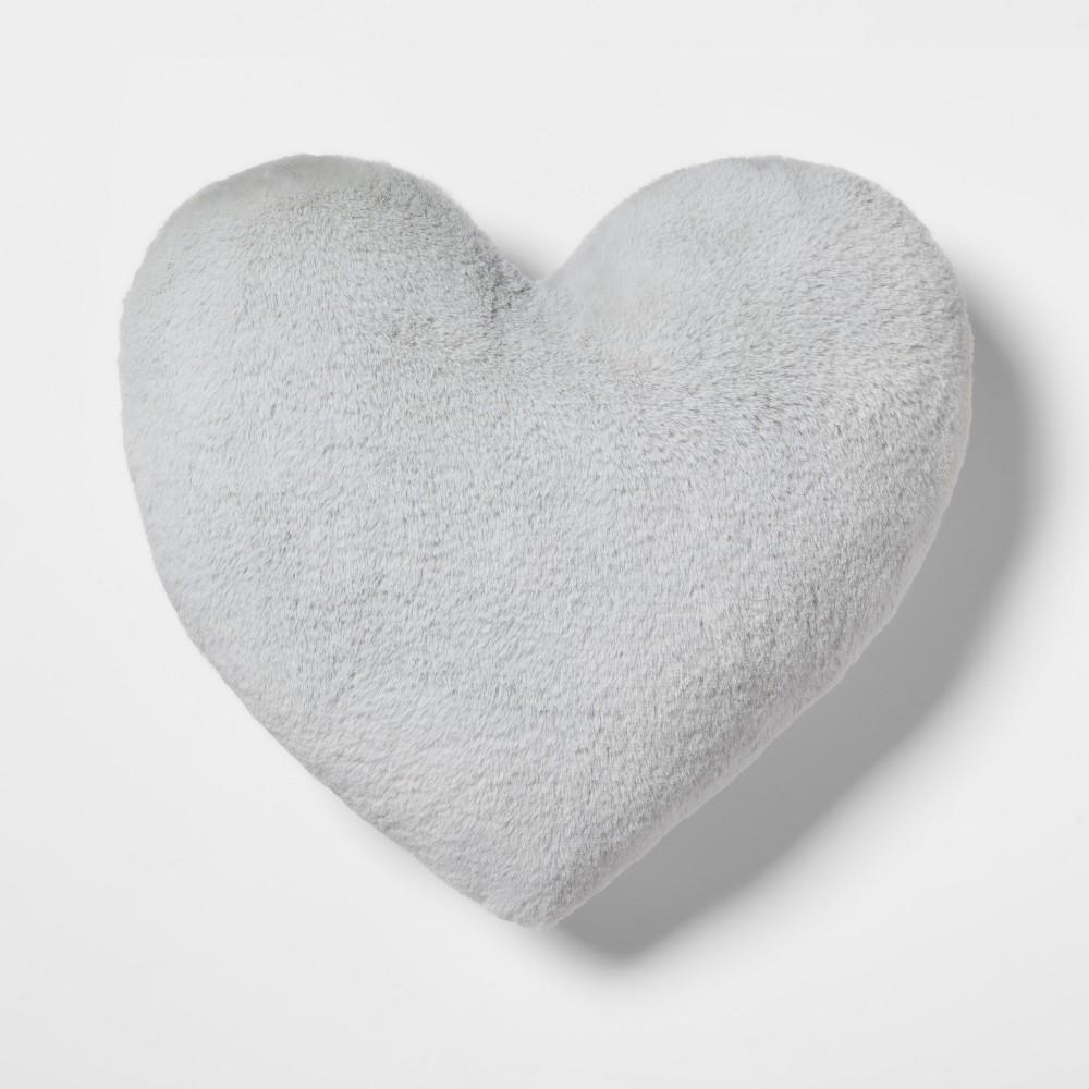 Heart Faux Fur & Velvet Throw Pillow Gray - Pillowfort