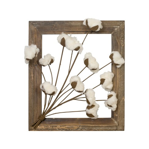 "Wood Frame with Cotton Flowers Decorative Wall Sculpture Brown 16"" x 13.75"" - VIP Home & Garden - image 1 of 2"