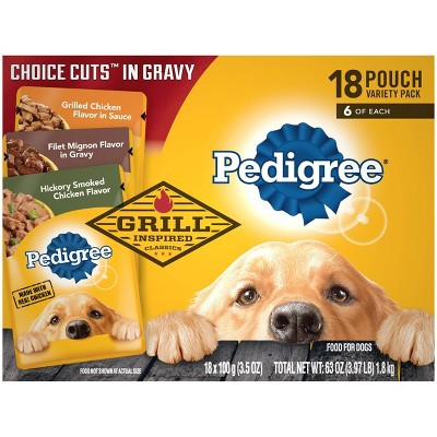 Pedigree Pouch Choice Cuts In Gravy Wet Dog Food Grilled Chicken, Filet Mignon & Smoked Chicken - 3.5oz/18ct Variety Pack